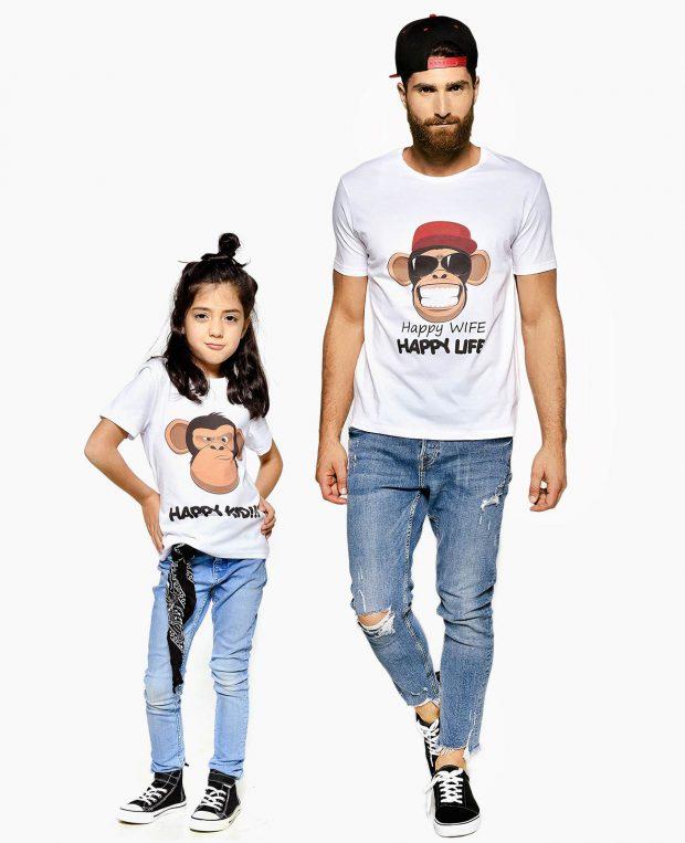 Men's Crew Neck T-Shirt HAPPY LIFE