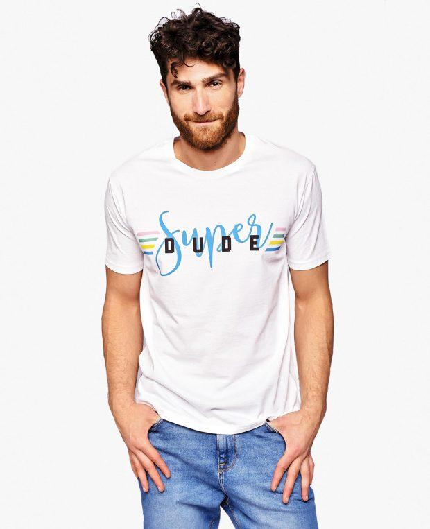 Men's Slogan T-Shirt SUPER DUDE