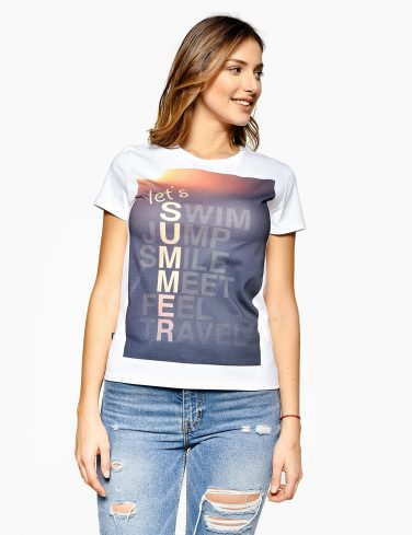Women's Jersey T-Shirt In White SUMMER