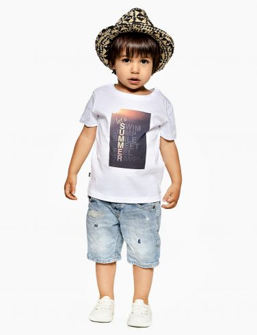 Kids Jersey T-Shirt In White SUMMER