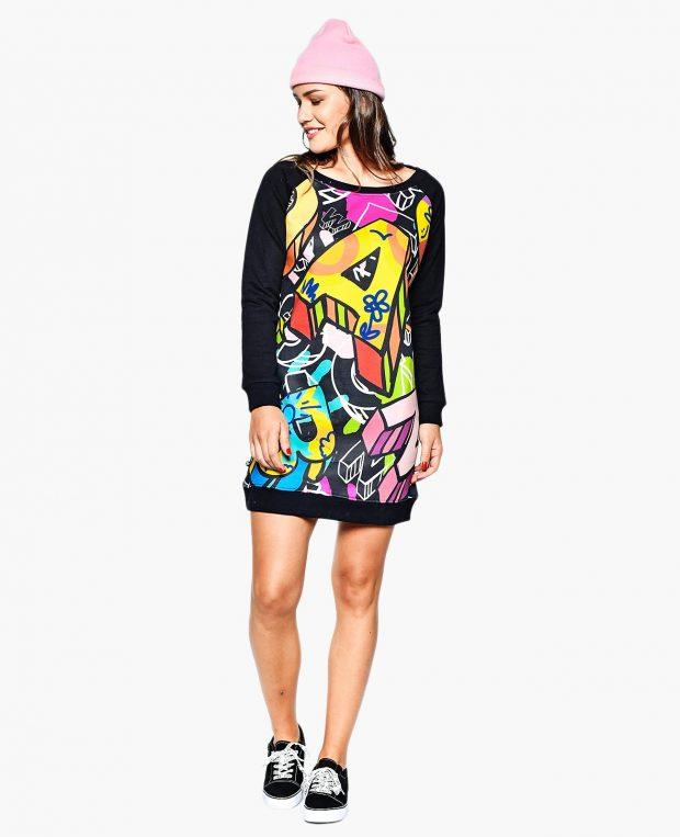 Women's Sweatshirt Dress ABC