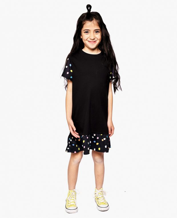 Girls Flounce Hem Dress PEBBLES