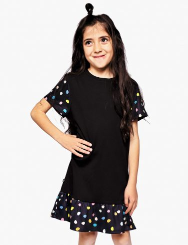 Girls Flounce Hem Dress PEBBLES