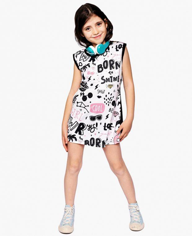 Girls Printed Dress BORN TO ROCK