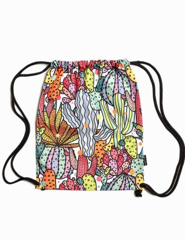 Drawstring Patterned Bag CACTUS