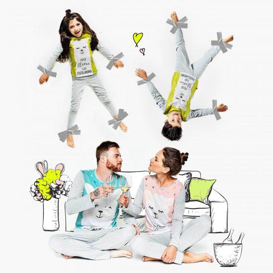 забавни еднакви пижами за цялото семейство