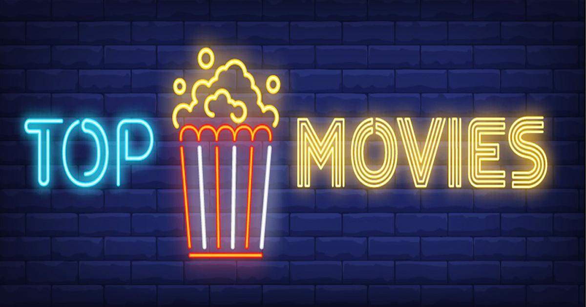 Надпис TOP MOVIES с пуканки