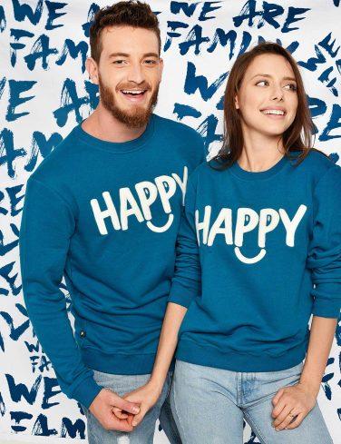 блузи за него и нея с надпис HAPPY