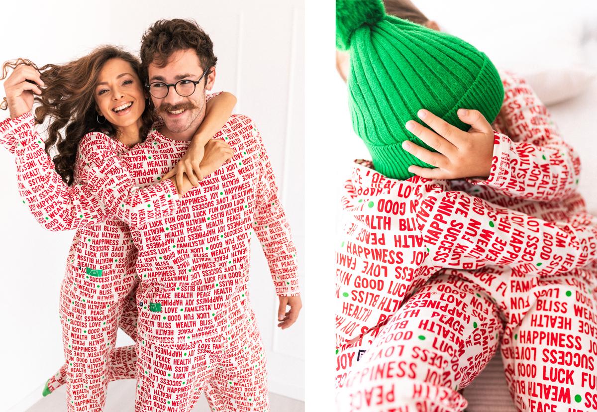 колаж от снимки с прегърнати хора облечени в еднакви пижами