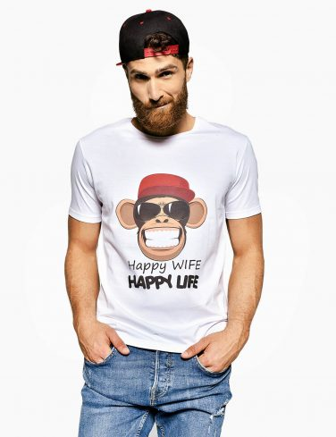 Men's Crew Neck T-Shirt HAPPY LIFE