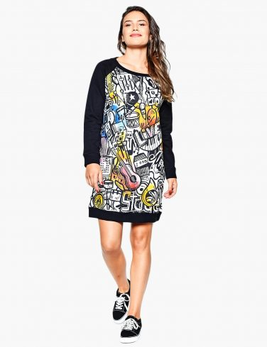 Women's Sweatshirt Dress MUSIC ART